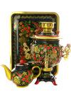 Набор самовар электрический 3 литра с художественной росписью Хохлома классическая, овал рифленый, арт. 121110Самовары электрические<br>Комплект из трех предметов:латунный самовар, металлический поднос и заварочный чайник.<br>