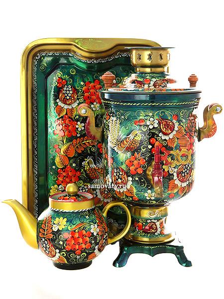 Набор самовар электрический 3 литра с художественной росписью Хохлома на зеленом фоне мелкая, арт. 130365Самовары электрические<br>Комплект из трех предметов:латунный самовар, металлический поднос и заварочный чайник.<br>