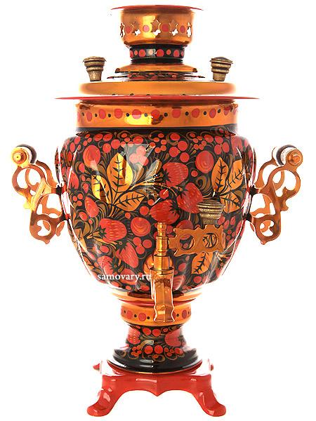 Электрический самовар 3 литра с художественной росписью Хохлома рыжая, желудь, арт. 110445Латунный самовар с термостойкой росписью.<br>