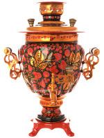 Электрический самовар 3 литра с художественной росписью Хохлома рыжая