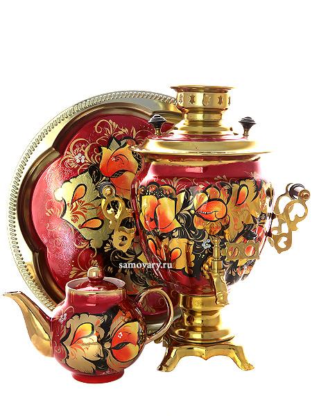 Набор самовар электрический 3 литра с художественной росписью Золотые цветы на бордовом фоне, арт. 110313Комплект из трех предметов:латунный самовар, металлический поднос и заварочный чайник.<br>