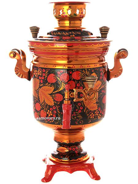Электрический самовар 3 литра с художественной росписью Хохлома рыжая, цилиндр, арт. 110442Латунный самовар с термостойкой росписью.<br>