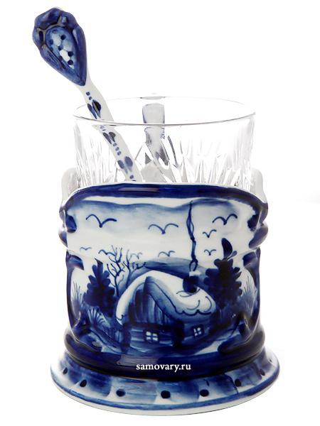Набор с подстаканником Гжель зимняя, арт. 14Комплект из подстаканника, ложки,хрустального стакана.<br>Подписан автором.<br>