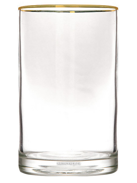 Стакан для подстаканника с золотым ободкомТонкостенный гладкостенный стакан с золотой каймой.<br>Высота - 10 см.<br>