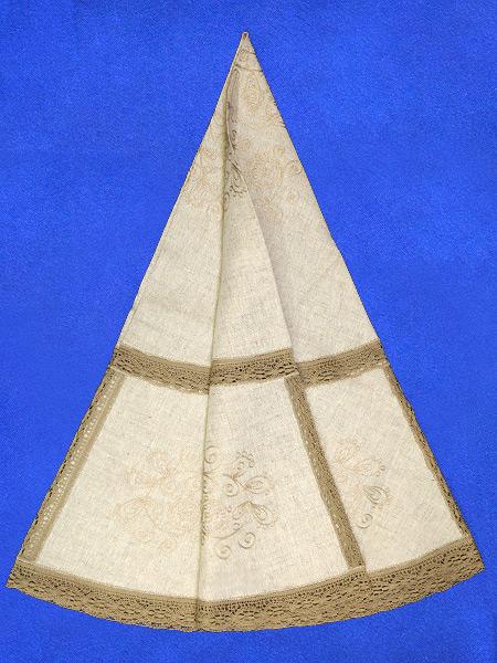 Льняная круглая скатерть серая с серым кружевом и кружевной вышивкой (Вологодское кружево), арт. 1нхп-648, d-150 Тульские самовары