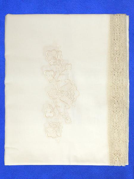 Льняная скатерть прямоугольная белая с кремовым кружевом (Вологодское кружево), арт. 1С-968, 230х150 Тульские самовары