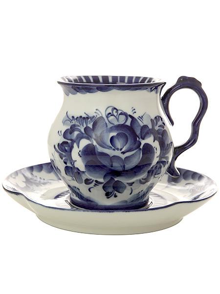Чайная пара с художественной росписью Гжель Голубая рапсодияЧайная пара керамическая с ручной художественной росписью.&#13;<br>Объем - 360 мл.<br>