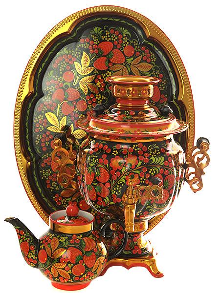 Набор самовар электрический 3 литра с художественной росписью Хохлома рыжая, овал арт. 121080Комплект из трех предметов:латунный самовар, металлический поднос и заварочный чайник.<br>