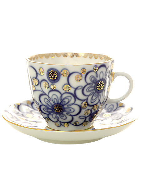 Чашка с блюдцем кофейная форма Тюльпан рисунок Вьюнок, Императорский фарфоровый заводФарфоровая кофейная пара.<br>Объем чашки - 140 мл.<br>