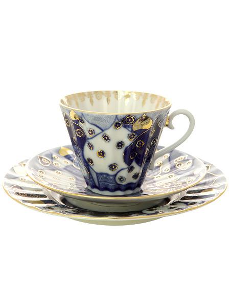 3-x предметный чайный комплект форма Лучистая рисунок Перезвоны, Императорский фарфоровый заводФарфоровая чашка и два блюдца.&#13;<br>Объем - 235 мл.<br>