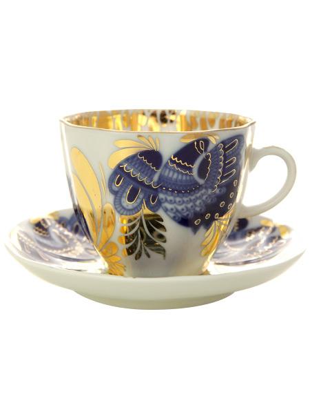 Сервиз кофейный форма Тюльпан, рисунок Золотой сад 6/20, Императорский фарфоровый заводСервиз кофейный из 20 предметов: 6 кофейных пар, кофейник, сахарница и 6 десертных тарелок.<br>