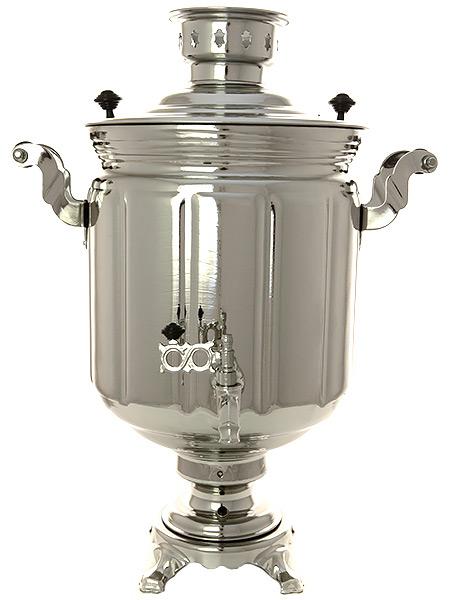 Электрический самовар 10 литров с никелированным покрытием цилиндр с автоматическим отключением при закипании, арт. 121040кЛатунный самовар с никелированным покрытием.<br>Оборудован функцией автоматического отключения при закипании воды.<br>