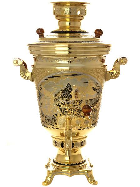 Самовар электрический 4 литра желтый конус старинный с ручной гравировкой и позолотой, арт. 144545Латунный уральский самовар с позолоченной гравировкой и никелированием.<br>Произведен в 1986 году. <br>Полностью отреставрирован и готов к эксплуатации.<br>