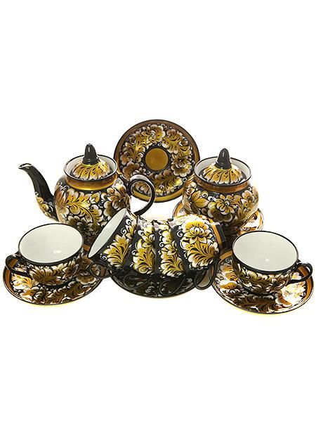 Чайный сервиз с художественной росписью Кудрина.Преданья старины с белым на 6 персонКомплект на 6 персон с сахарницой и заварочным чайником.&#13;<br>Материал - керамика.<br>