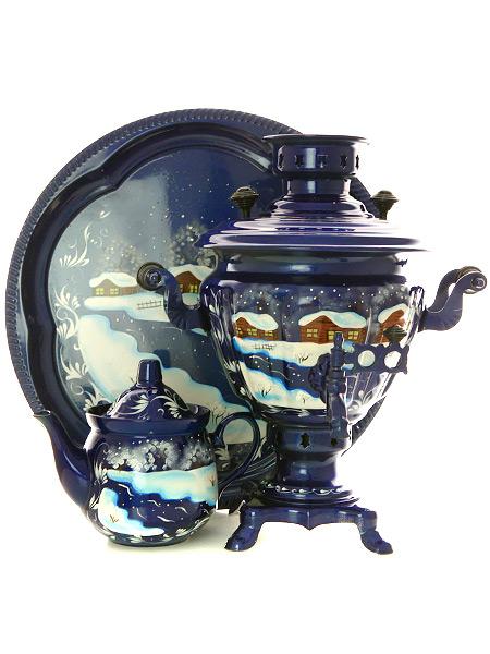 Набор самовар электрический  2 литра с художественной росписью Зимний вечер, арт. 110600Комплект из трех предметов:латунный самовар, металлический поднос и заварочный чайник.<br>