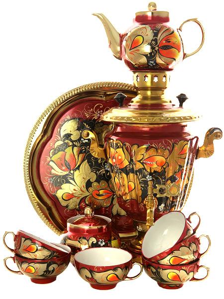 Набор самовар электрический 3 литра с художественной росписью Золотые цветы на бордовом фоне с чайным сервизом, арт. 160325сСамовары электрические<br>Комплект из 10 предметов:латунный самовар, металлический поднос, заварочный чайник, сахарница и 6 чайных пар.<br>