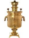 Угольный самовар 7 литров желтый цилиндр, произведен в конце XIX века, ТД Аленчиков и Зимин, арт. 450194Антикварный латунный самовар.  &#13;<br>Отреставрирован тульскими мастерами и готов к эксплуатации.<br>