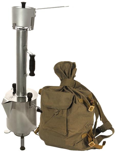 Походный угольный самовар 2,5 литра из нержавеющей стали, арт. 220536Походный самовар-чайник в комплекте с трубой, ковшом, армейским вещмешком<br>