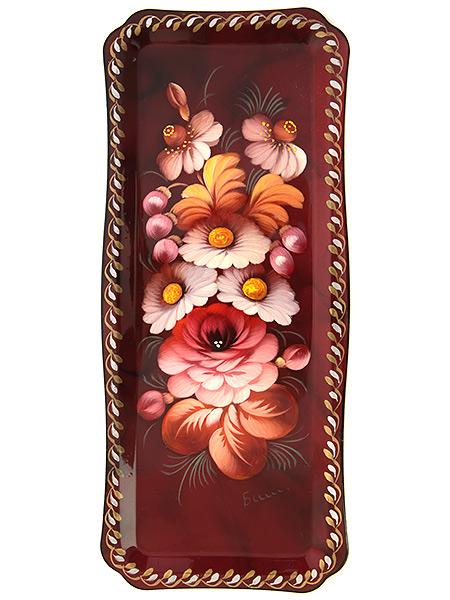 Жостовский поднос с художественной росписью Цветы на бордовом фоне, прямоугольный малый, арт. 5010Поднос с ручной росписью. &#13;<br>Размер - 31*13 см.<br>