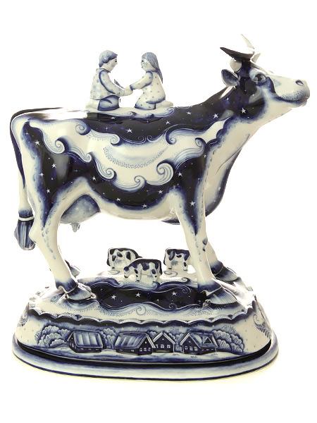 Скульптура Гжель Корова НочкаКерамическая скульптура.<br>