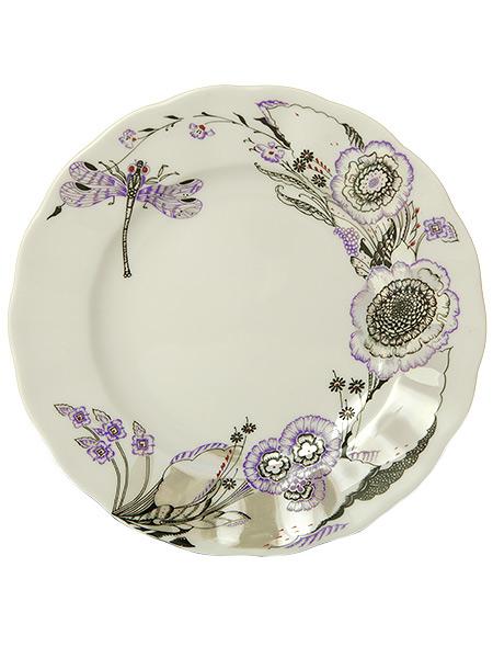 Тарелка закусочная 200 мм форма Гладкая, рисунок Шепот стрекозы, Императорский фарфоровый заводПлоская фарфоровая тарелка.&#13;<br>Диаметр - 200 мм.<br>