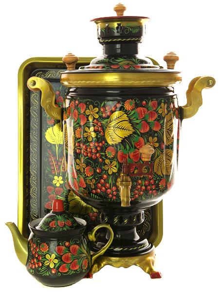 Комбинированный самовар 5 литров с художественной росписью  Хохлома классическая в наборе с подносом и чайником, арт. 309910Набор: самовар комбинированный с красочной художественной росписью, поднос металлический и заварочный чайник керамический.&#13;<br>Труба для отвода дыма в комплекте.<br>