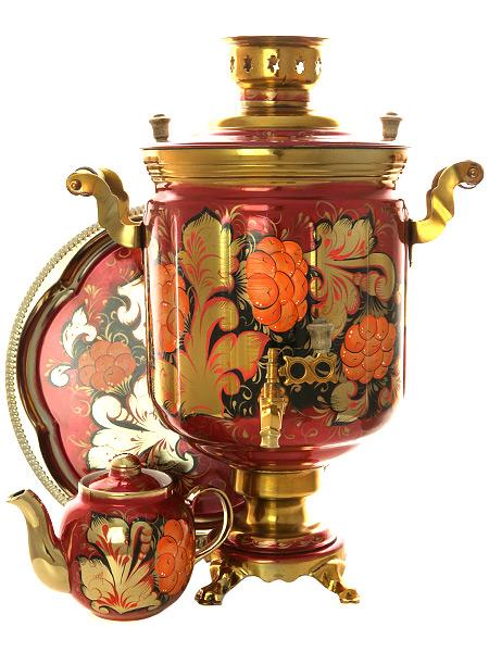 Набор самовар электрический 10 литров с художественной росписью Рябина на бордовом фоне, арт. 140249Комплект из трех предметов:латунный самовар, металлический поднос и заварочный чайник.<br>