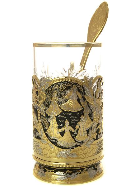"""Позолоченный подстаканник чайный """"Хоровод"""" с ложкой, хрустальным стаканом в подарочном футляре Златоуст"""