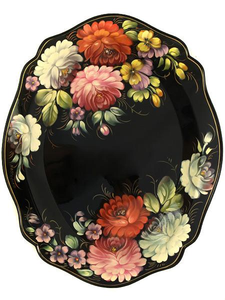 Поднос Жостово с художественной росписью Цветы на черном фоне, малый овальный глубокий, арт. 5012Поднос с ручной росписью.<br>Размер - 42*34 см.<br>