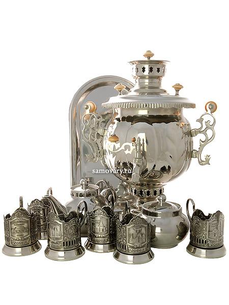 Набор с угольным самоваром 4,5 л никелированный шар в комплекте с подстаканниками Вокзалы Москвы, арт. 220730пПодарочный комплект: угольный самовар, металлический поднос, заварочный чайник, сахарница и 6 подстаканников с изображением вокзалов Москвы.&#13;<br>Труба для отвода дыма в комплекте.<br>
