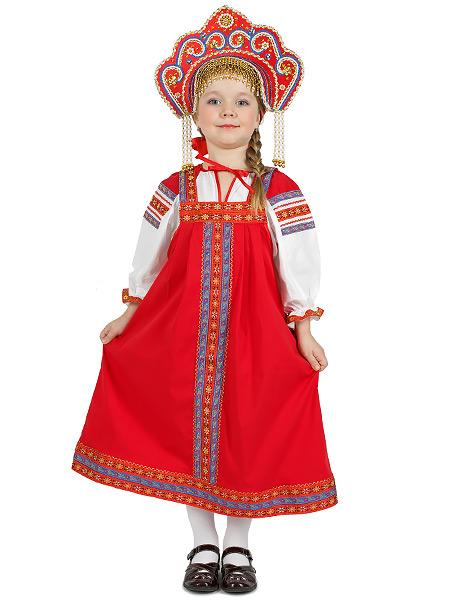 Русский народный костюм детский льняной комплект красный Забава: сарафан и блузка, 1-6 летДетский костюм для девочки, возраст 1,2,3,4,5,6 лет.&#13;<br>Ткань - лен. Цвет - красный.<br>