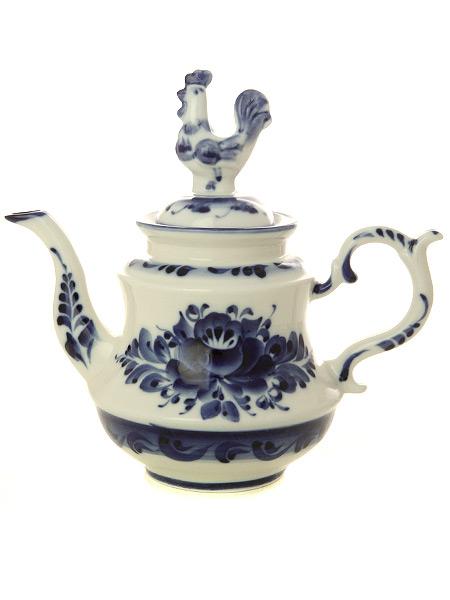 Чайник заварочный керамический Гжель ПетушокЧайник керамический с ручной росписью.<br>Объем - 400 мл.<br>