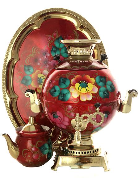 Набор самовар электрический 5 литров с художественной росписью Жостово на красном фоне, арт. 140250Комплект из трех предметов:латунный самовар, металлический поднос и заварочный чайник.<br>