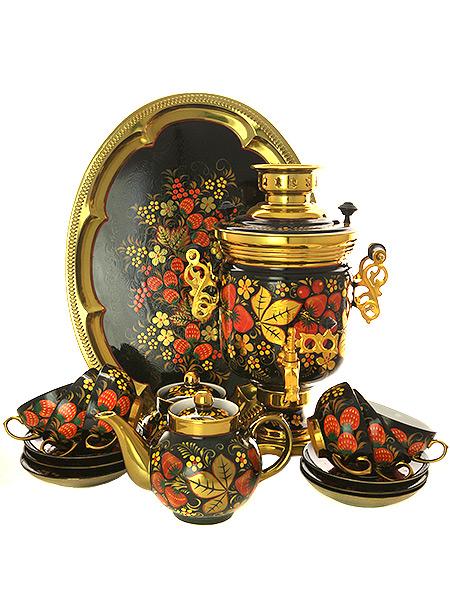 Набор самовар с автоотключением электрический 3 литра с художественной росписью Хохлома рыжая с чайным сервизом, арт. 140256сКомплект из 10 предметов:латунный самовар, металлический поднос, заварочный чайник, сахарница и 6 чайных пар.<br>Оборудован функцией автоматического отключения при закипании воды.<br>
