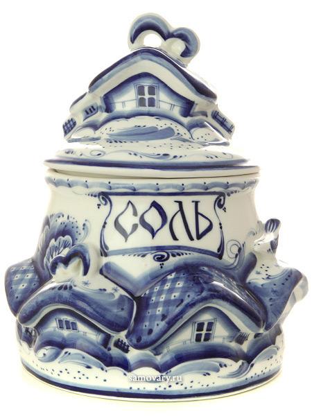 Банка для соли Деревенька с художественной росписью ГжельКерамическая банка с ручной росписью.<br>
