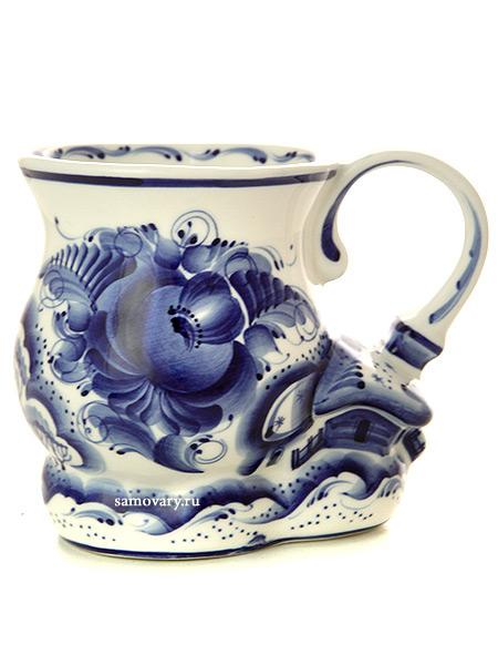 Бокал Деревенька с художественной росписью ГжельКерамический бокал с ручной росписью.<br>Высота - 7 см.<br>