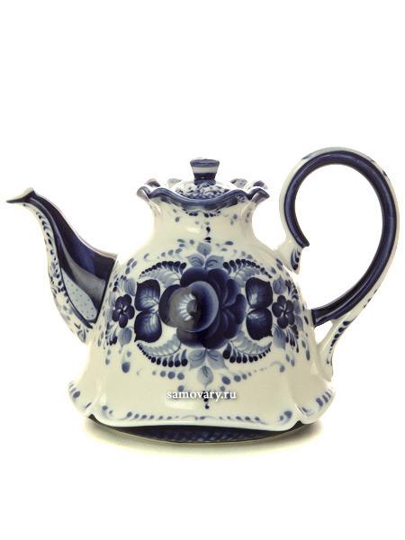 Чайник заварочный Колокольчик с росписью Гжель, автор Алехин С.Чайник с ручной росписью.&#13;<br>Объем - 500 мл<br>