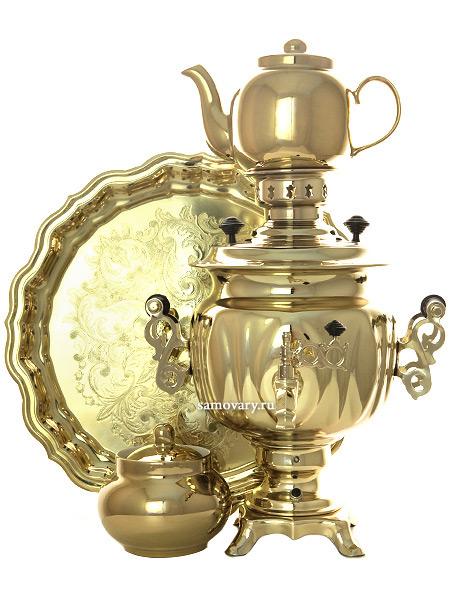 Набор самовар электрический 3 литра желтый овал с автоотключением Золото, арт. 120319кНабор цвета золото: латунный самовар с функцией автоотключения, металлический поднос, керамические заварочный чайник и сахарница с напылением под золото....<br>