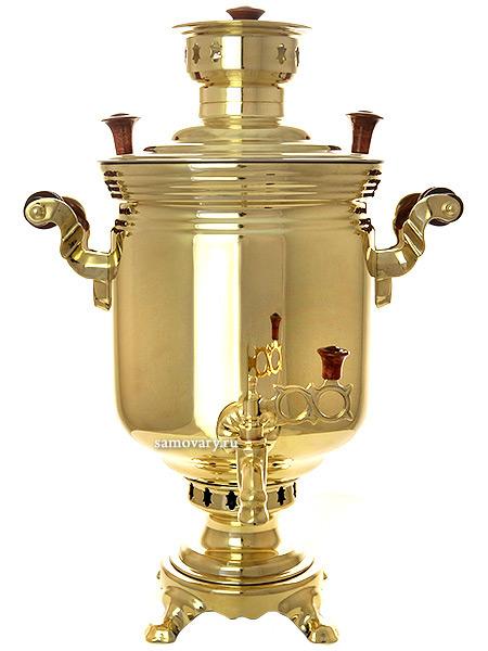 Комбинированный самовар 5 литров желтый цилиндр, арт. 310537Латунный самовар.&#13;<br>Труба для отвода дыма в комплекте.<br>