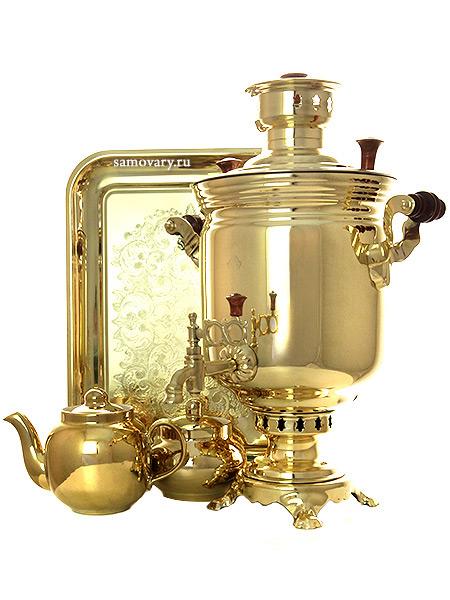 Набор самовар комбинированный 5 литров цилиндр желтый, арт. 310537пНабор из самовара,подноса,заварочного чайника и сахарницы.<br>Труба для отвода дыма в комплекте.<br>
