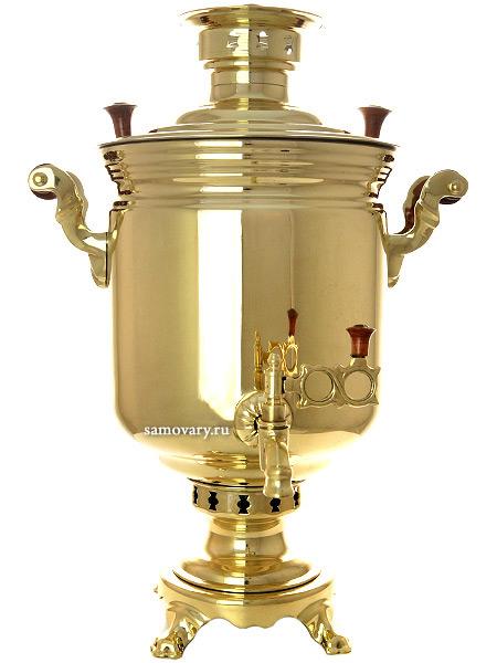 Комбинированный самовар 7 литров желтый цилиндр, арт. 310538Латунный самовар.&#13;<br>Труба для отвода дыма в комплекте.<br>