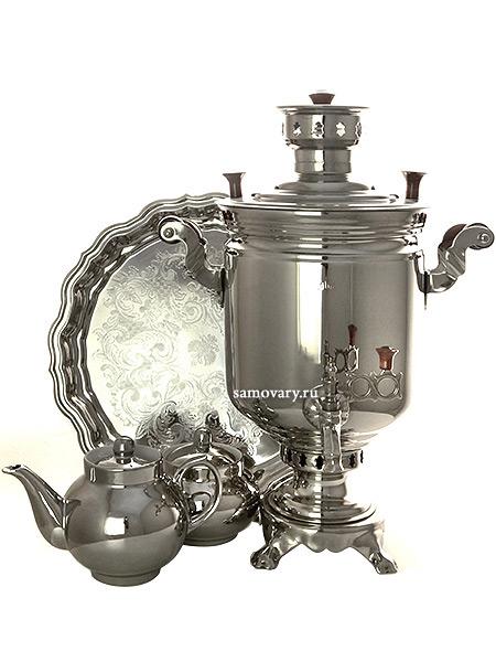 Набор Праздник самовар комбинированный 5 литров цилиндр никелированный с подносом, чайником и сахарницей, арт. 331011кНабор из самовара, подноса, заварочного чайника и сахарницы.<br>Труба для отвода дыма в комплекте.<br>