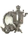 Набор Праздник самовар комбинированный 5 литров цилиндр никелированный с подносом, чайником и сахарницей, арт. 331011кНабор из самовара, подноса, заварочного чайника и сахарницы.&#13;<br>Труба для отвода дыма в комплекте.<br>