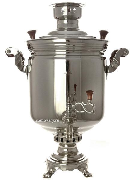 """Комбинированный самовар 7 литров никелированный """"цилиндр"""", арт. 331012 Тула"""
