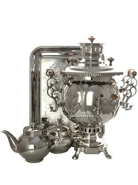 Комбинированный самовар 4,5 литра шар никелированный в наборе, арт. 301069Набор: самовар, поднос, заварочный чайник и сахарница.<br>Труба для отвода дыма в комплекте.<br>