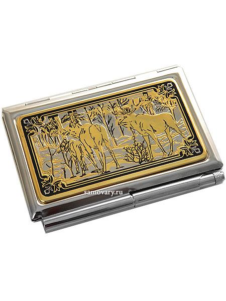 Визитница позолоченная с гравюрой Лоси ЗлатоустВизитница сувенирная позолоченная с гравюрой.<br>Упакована в стильную дизайнерскую коробку.<br>Ручная работа.<br>
