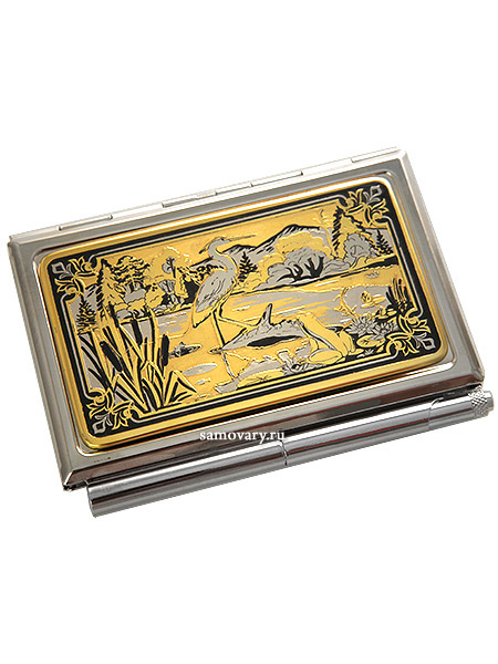 Визитница позолоченная с гравюрой Цапля ЗлатоустВизитница сувенирная позолоченная с гравюрой.<br>Упакована в стильную дизайнерскую коробку.<br>Ручная работа.<br>
