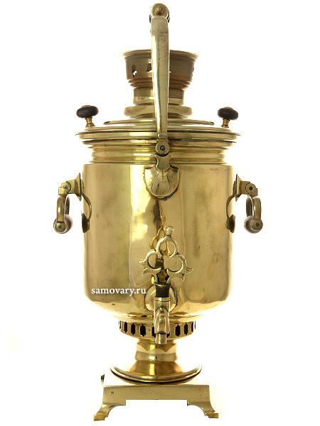 Угольный самовар 5 литров желтый цилиндр трактирный с ручкой, произведен в начале XX века, Госпромцветмет завод в Кольчугине, арт. 490914Антикварный латунный самовар.<br>Отреставрирован тульскими мастерами и готов к эксплуатации.<br>