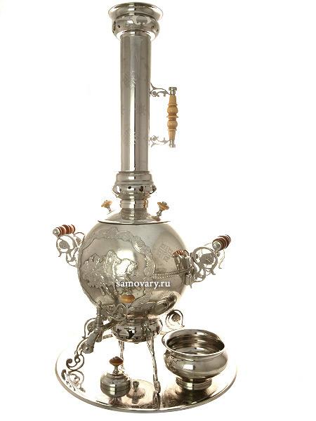 Набор самовар на дровах 5 литров никелированный шар-паук Метелица с подносом, капельницей и трубой, арт. 310214Самовар угольный, эксклюзивный.&#13;<br>Труба для отвода дыма, поднос и капельница в комплекте.<br>