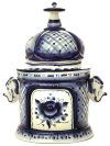 Чайница Слоны с росписью ГжельЕмкость для хранения чая.&#13;<br>Высота - 20 см.<br>